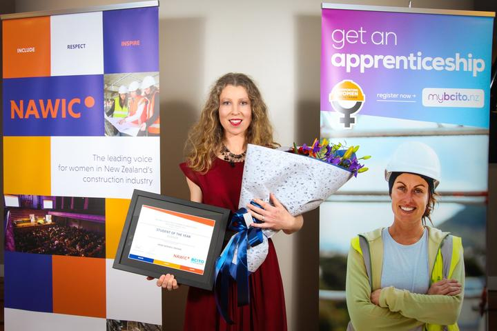 Apprentice with Osborn Brothers Building and Construction Ltd, Anna Winskill-Moore. Anna won the Student of the Year award at the National Association of Women in Construction Excellence Awards 2019.