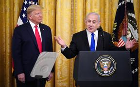 Israeli Prime Minister Benjamin Netanyahu and US President Donald Trump at the announcement of Trump's Middle East peace plan on 28 January 2020.