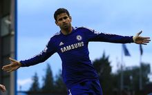 Diego Costa of Chelsea celebrates after scoring their 1st goal against Burnley, 2014.