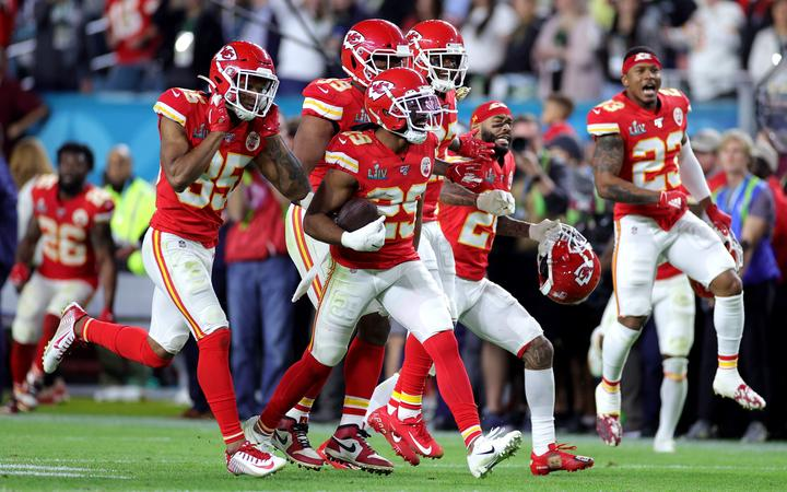 Kendall Fuller #29 of the Kansas City Chiefs celebrates after a interception against the San Francisco 49ers during the fourth quarter in Super Bowl LIV at Hard Rock Stadium.