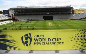 General view and signage for the Rugby World Cup 2021.