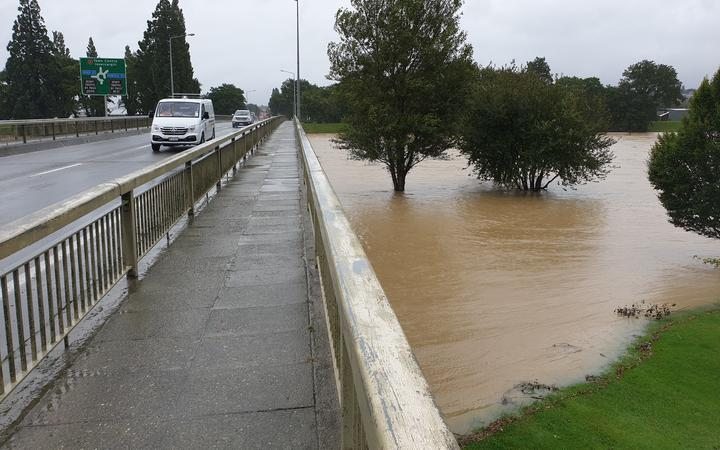 Flooding at the bridge in Gore.