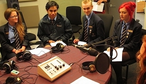 Hannah Newell, Tuukuru Tahana, Alex Zorn, Joni Palmer and Nicola Fagan, all students at Aranui High School, gather in Radio New Zealand's Christchurch studio to interview climate scientists from Lincoln and Victoria universities and GNS Science.