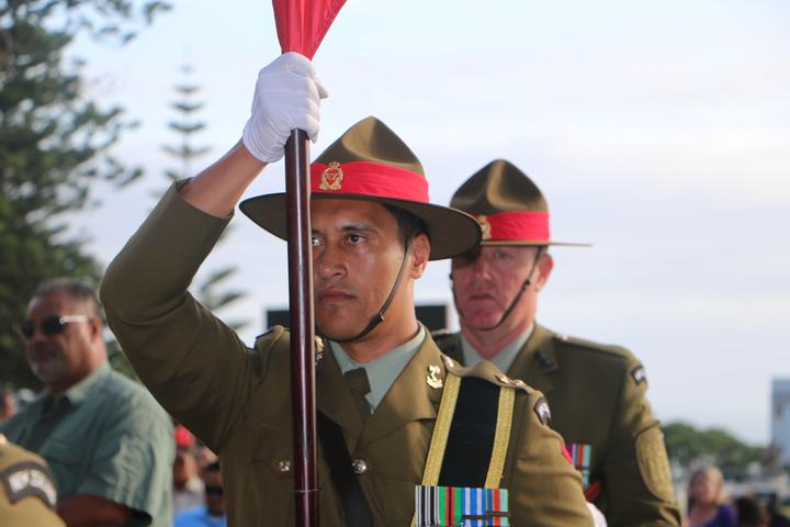 Members of the defence force at the opening of Te Rau Aroha.