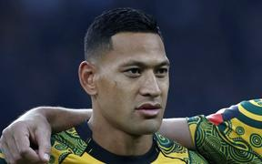 Australia's full-back Israel Folau lines up ahead of the international rugby union test match between England and Australia at Twickenham stadium in south-west London on November 24, 2018.