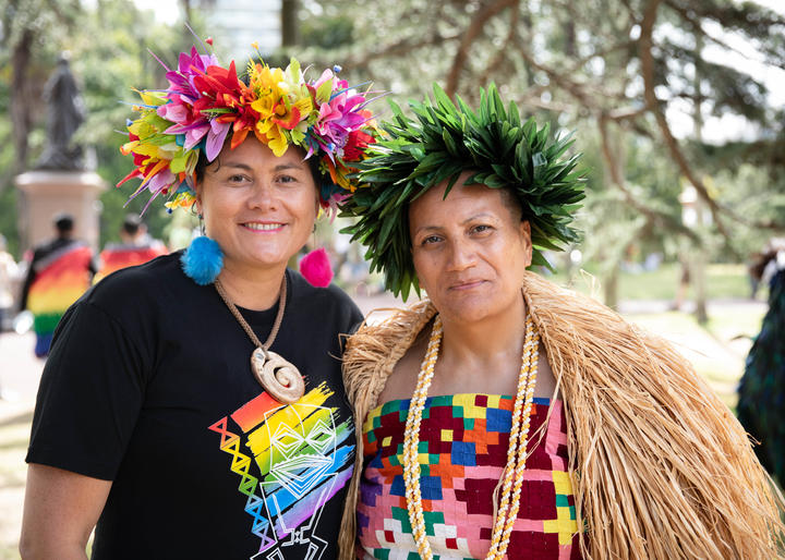 Labour MP Louisa Wall (left) and Cook Islands Community Spokesperson Sonya Apa Temata