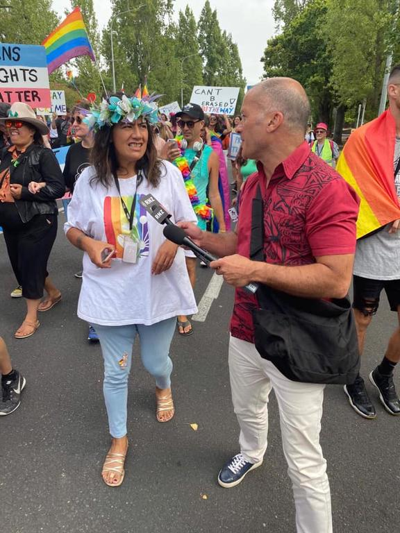 Auckland City's ​Maungakiekie-Tāmaki Ward Councillor, Josephine Bartley being interviewed during #OurMarch