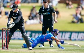 New Zealand's Tom Latham runs out Rithvi Shaw. One Day cricket international between India and New Zealand at Bay Oval, Tauranga, New Zealand, Tuesday 11 February 2020. Copyright photo: John Cowpland / www.photosport.nz