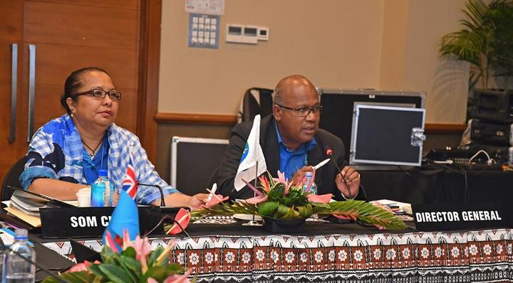 Melanesian Spearhead Group meeting chair Barbara Age, left, and MSG Director-General Amena Yauvoli.