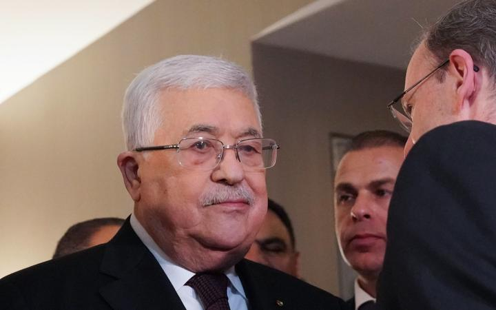 Palestinian president Mahmud Abbas looks on following a briefing on President Donald Trump's Mideast plan on February 11, 2020 in New York. -