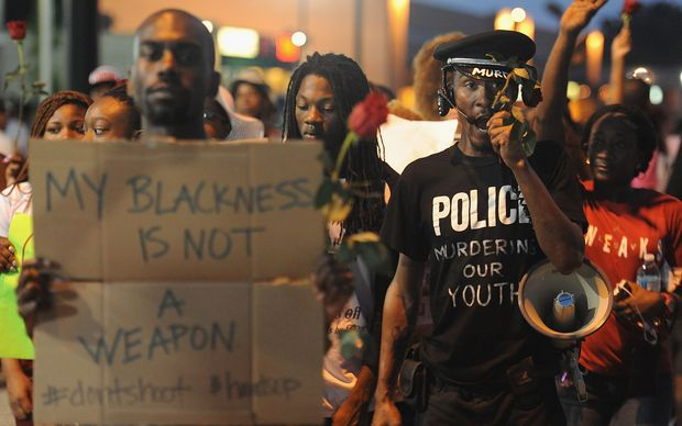 A demonstrator during a protest in Ferguson.