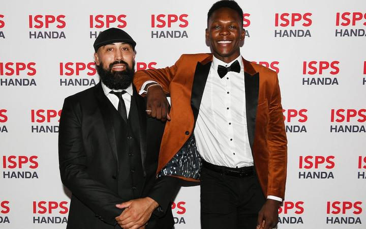 Mixed Martial Arts fighter Israel Adesanya, right, with his coach, Eugene Bareman, who was a finalist for Coach of the Year. Photo:PHOTOSPORT