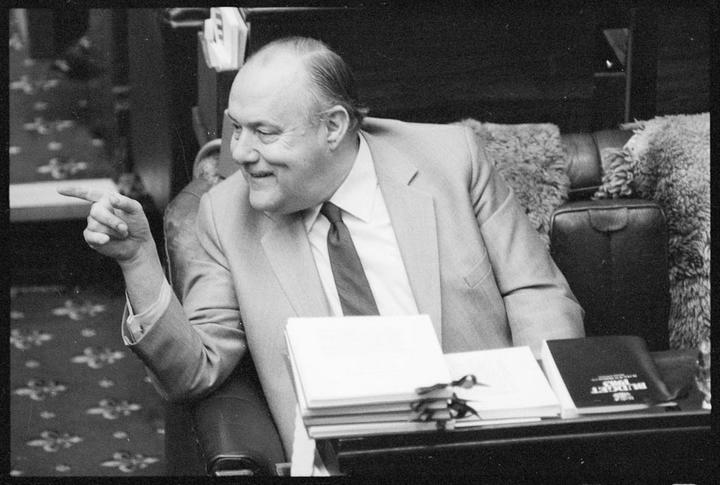 Prime Minister Robert Muldoon reading the budget, 29 July 1983.
