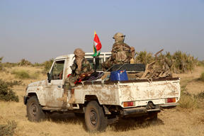Coalition of the People of Azawad (CPA) fighters are seen on a Land Cruiser while patrolling the area near the Mali-Mauritania border to protect local populations from insecurity related to unrest caused by bandits.