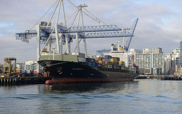 A container ship at Ports of Auckland in the Waitemata Harbour.