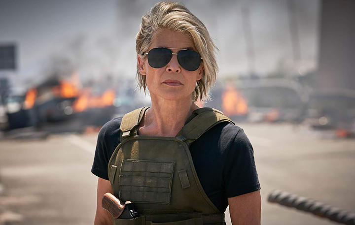 Linda Hamilton as Sarah Connor hunts Terminators.