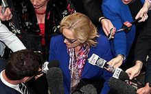 Judith Collins questioned by journalists over Oravida in May.