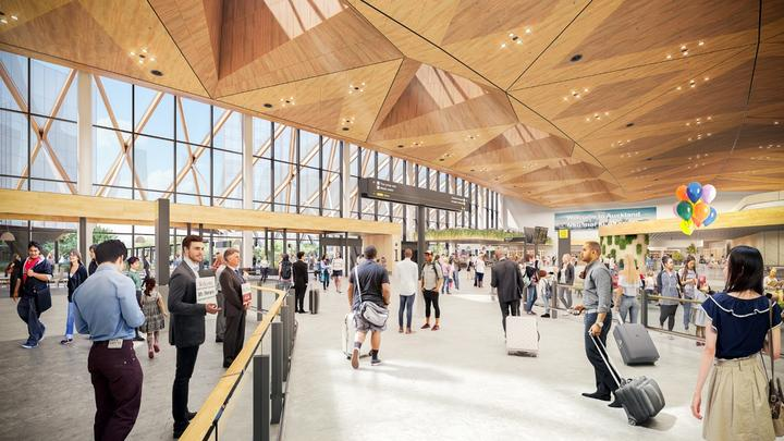 An artist's rendition of the interior view of Auckland Airport's planned expansion to its international arrivals area.
