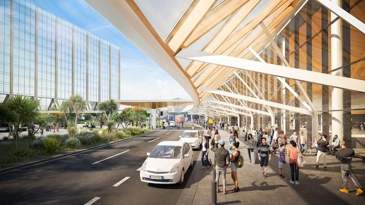 An artist's rendition of the outside view of Auckland Airport's planned expansion to its international arrivals area.