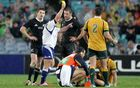 Jaco Peyper sinbins Beauden Barrett during the 1st Bledisloe Cup test in Sydney.