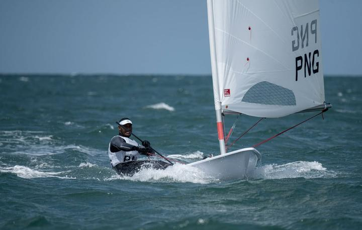 PNG sailor Te Ariki Numa racing at the 2020 World Laser Championships in Melbourne.
