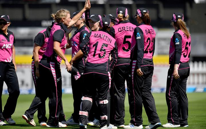 The White Ferns celebrate a wicket.