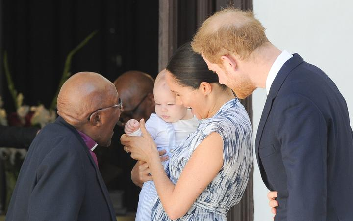 Harry and Meghan, The Duke and Duchess of Sussex and Archie at the Old Granary Building  in Cape Town, on September 25, 2019, for a meeting with Archbishop Desmond Tutu and Mrs Tutu