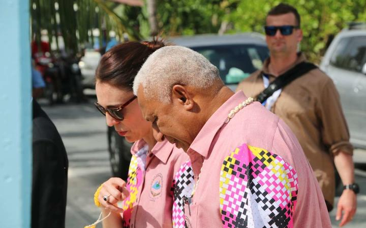 New Zealand prime minister Jacinda Ardern and Fiji prime minister Frank Bainimarama chat on the sidelines of last year's Pacific Islands Forum in Tuvalu.