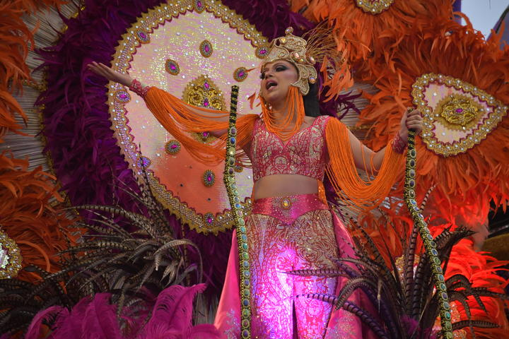 A reveller of the Imperio de Casa Verde samba school performs during the first night of carnival in Sao Paulo, Brazil.