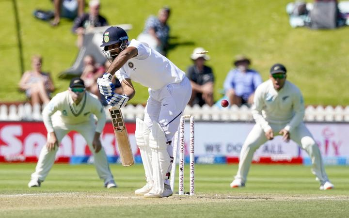 India's Hanuma Vihari is bowled by New Zealand's Tim Southee  during Day 4 of the test cricket international between India and New Zealand, Basin Reserve, Wellington, New Zealand.
