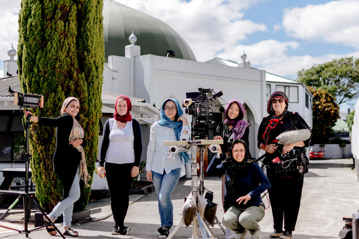 Crew shot outside the  Al-Masjid Al-Jamie Mosque - Left to Right, Director Ghazaleh Golbakhsh, Producer Gemma Duncan, Director of Photography Kelly Chen, 1st Assistant Camera Nahyeon Lee, Production Assistant Sara Shirazi, Sound Recordist Debra Frame.
