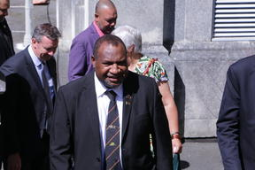 PNG Prime Mnister James Marape arrives at Victoria University of Wellington, 24 February 2020