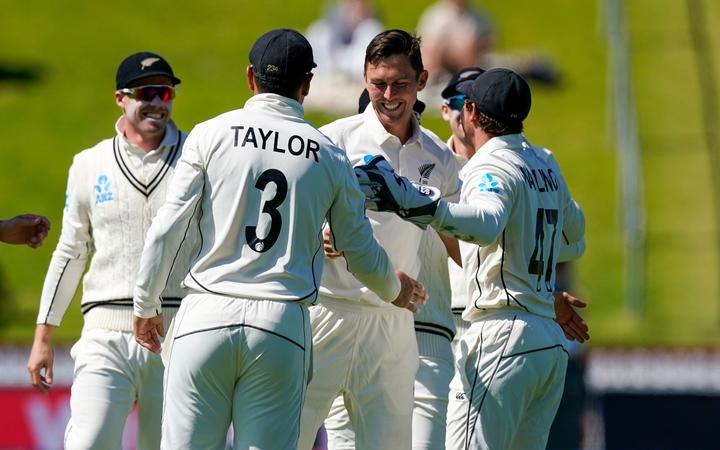 New Zealand's Trent Boult celebrates a wicket.