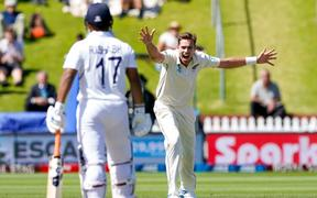 New Zealand's Tim Southee appeals for the wicket of India's Ishant Sharma.
