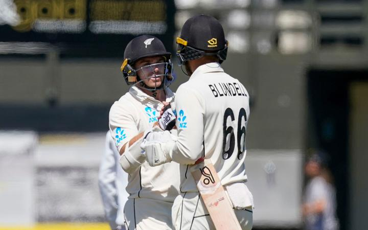 New Zealand's Tom Blundell and New Zealand's Tom Latham, Day 4 of the test cricket international between India and New Zealand, Basin Reserve, Wellington, New Zealand, 24 February, 2020. Copyright photo: John Cowpland / www.photosport.nz