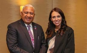 Fiji PM Frank Bainimarama with New Zealand's Jacinda Ardern in London, 2018