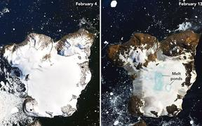 The photo on the left of Eagle Island, Antarctica was taken on February 4, 2020. The image on the right was taken on February 13, 2020. On February 6, Antarctica recorded its hottest temperature.