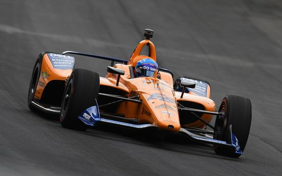 IndyCar driver Fernando Alonso of the McLaren Racing Chevrolet drives at  Indianapolis Motor Speedway.