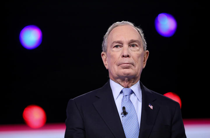 Democratic presidential hopeful Michael Bloomberg at the debate of the 2020 presidential campaign at the Gaillard Center in Charleston, South Carolina, on February 25, 2020.
