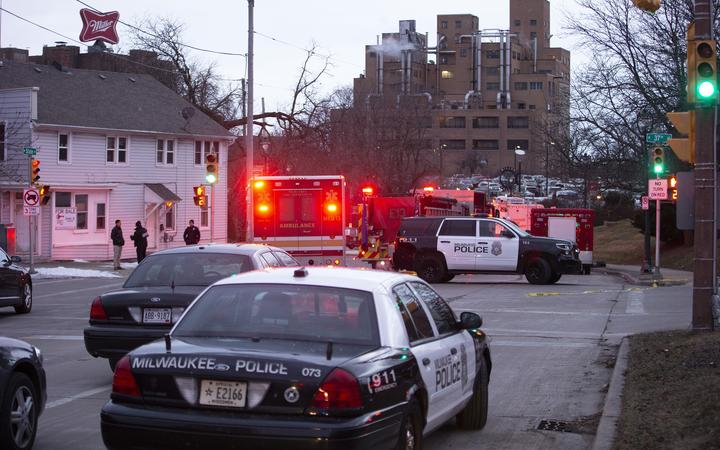 Emergency personnel at the scene of a shooting at the Molson Coors Brewing Co. campus on 26 February 2020 in Milwaukee, Wisconsin.