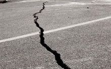 quake crack in road