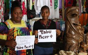 Women vendors in Vanuatu who strongly oppose Pacer-Plus.