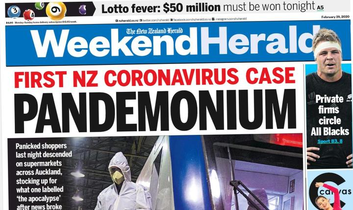 The Weekend Herald's alarming front page.