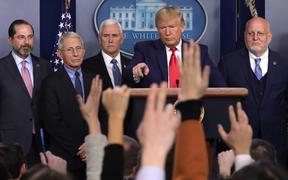 Donald Trump Covid-19 coronavirus with Health and Human Services Secretary Alex Azar, National Institute for Allergy and Infectious Diseases Director Anthony Fauci, Vice President Mike Pence, Centers for Disease Control and Prevention director Robert Redfield at the White House, Feb 29, 2020.