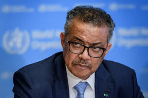 World Health Organization (WHO) Director-General Tedros Adhanom Ghebreyesus giving a briefing on the Covid-19 outbreak, 2 March