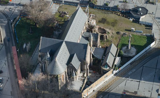 Aerial shot of Christ Church Cathedral in 2014.
