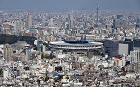 National Stadium, the main venue for the 2020 Tokyo Olympics and Paralympics located in the heart of Tokyo.
