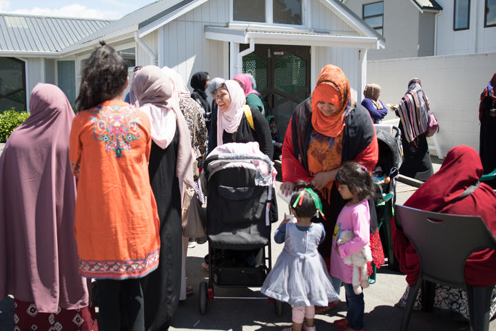 Outside of Al Noor mosque at a Sisters and Children event, Neha is excited about her and baby Noor's new permanent resident status. Her daughter will be raised in New Zealand, just as her husband Omar Faruk dreamed.