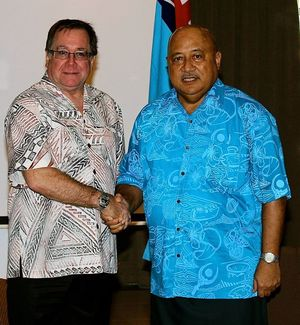 New Zealand's Foreign Minister Murray McCully and his Fiji counterpart Ratu Inoke Kubuabola.