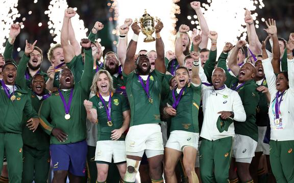 The Springboks celebrate winning the 2019 World Cup.